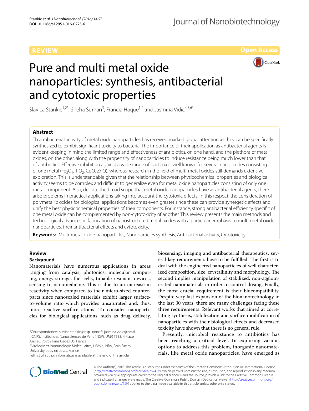 Pure and multi metal oxide nanoparticles: synthesis