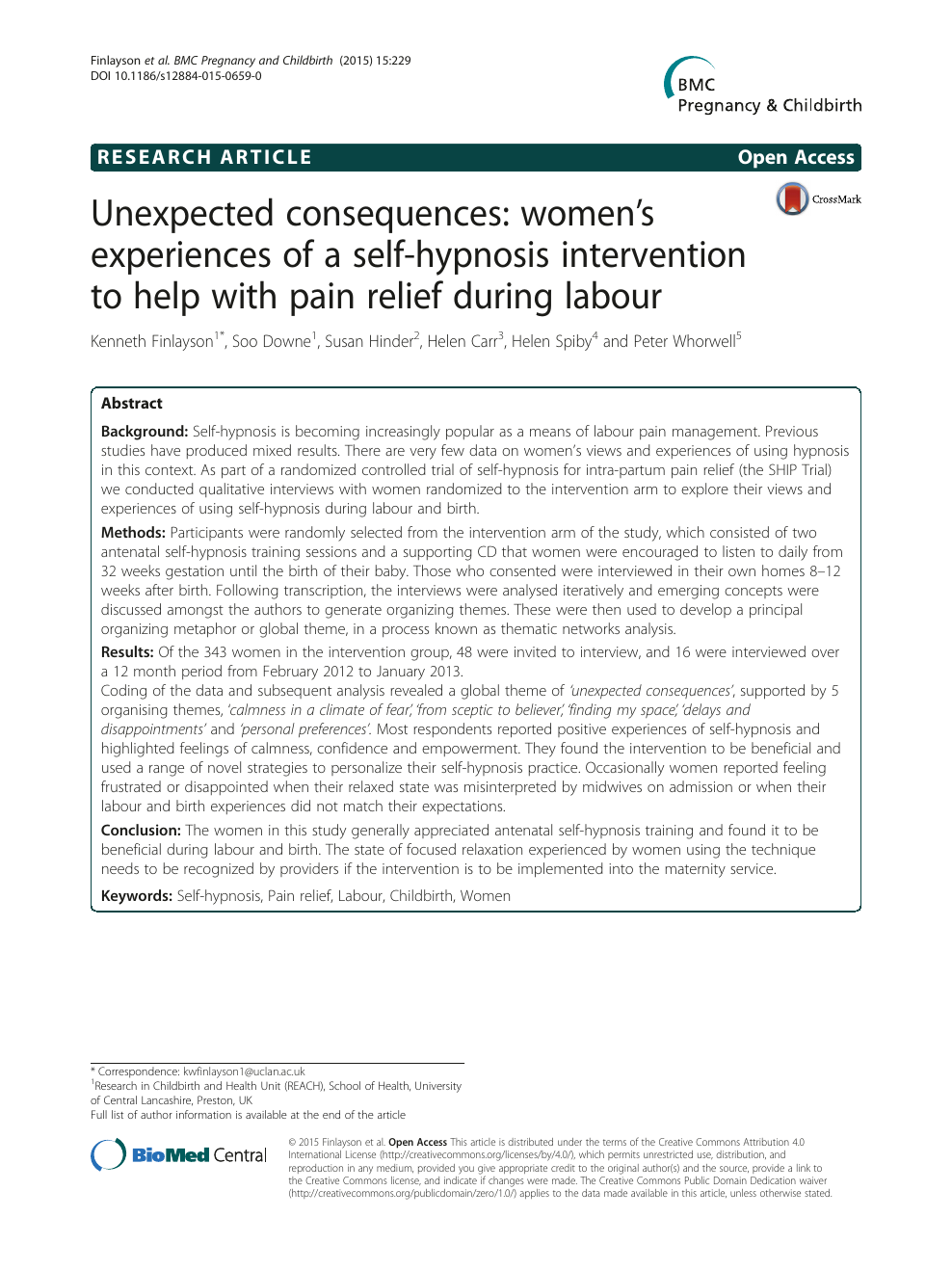 Unexpected consequences: women's experiences of a self