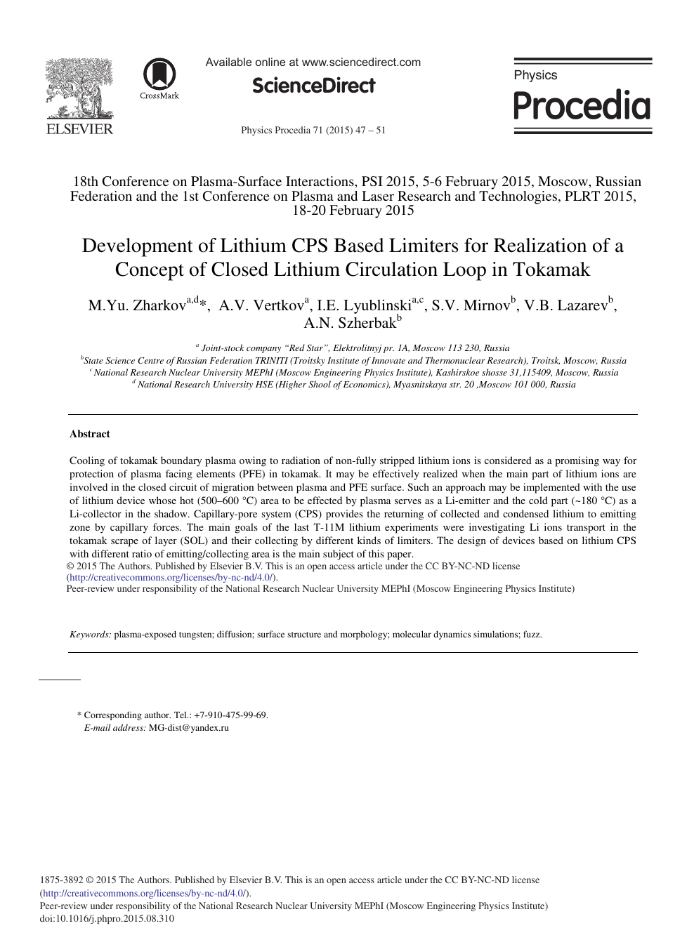 Development of Lithium CPS Based Limiters for Realization of