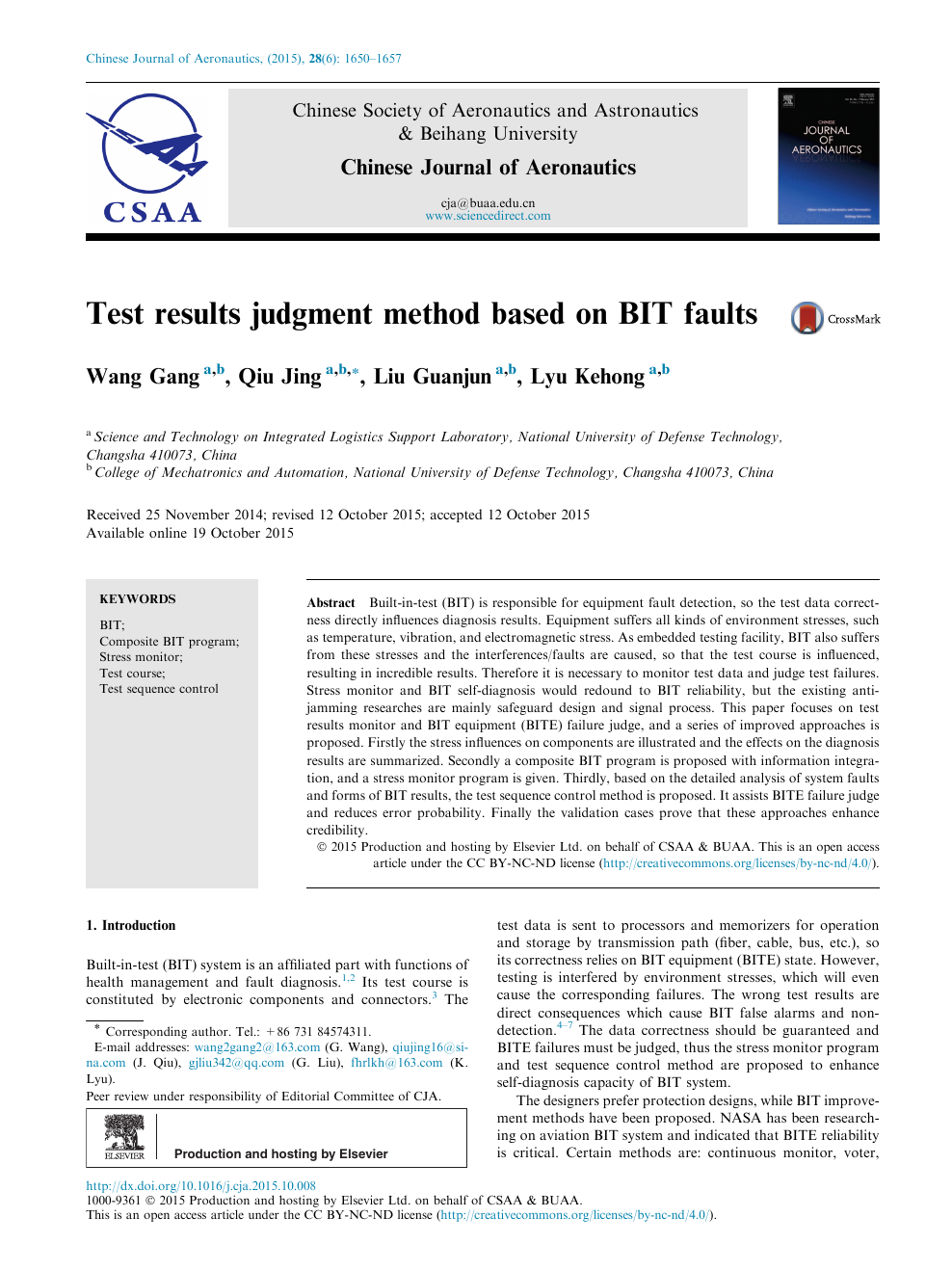 Test results judgment method based on BIT faults – topic of