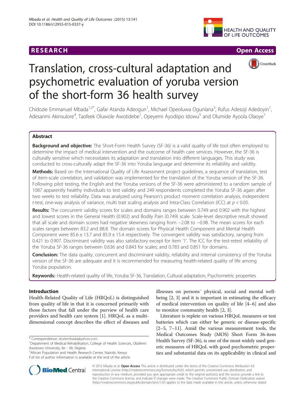 Translation, cross-cultural adaptation and psychometric