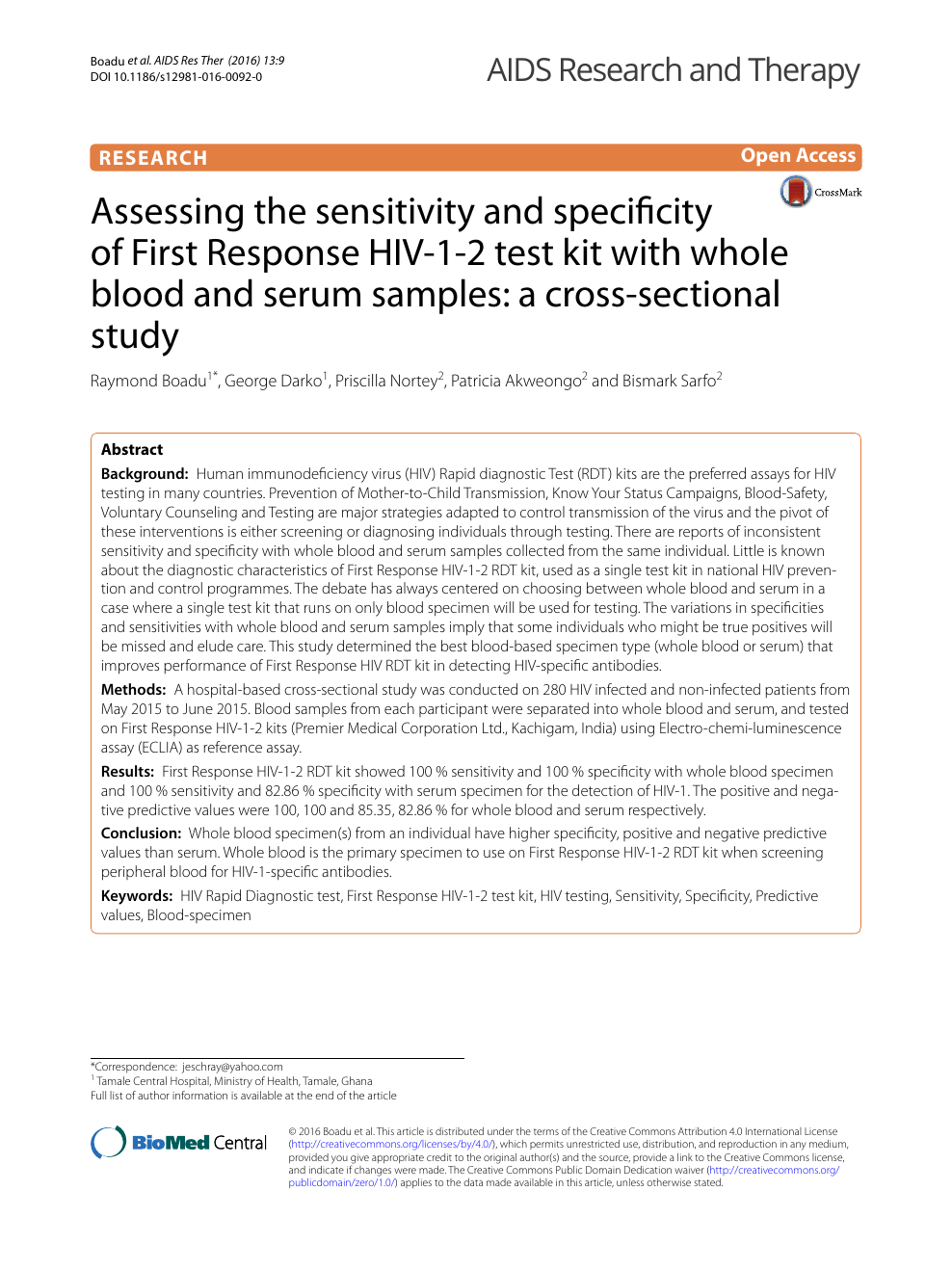 Assessing the sensitivity and specificity of First Response