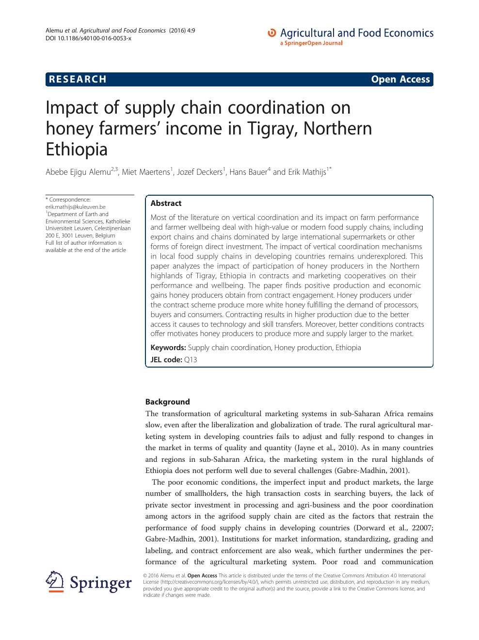 Impact of supply chain coordination on honey farmers' income in