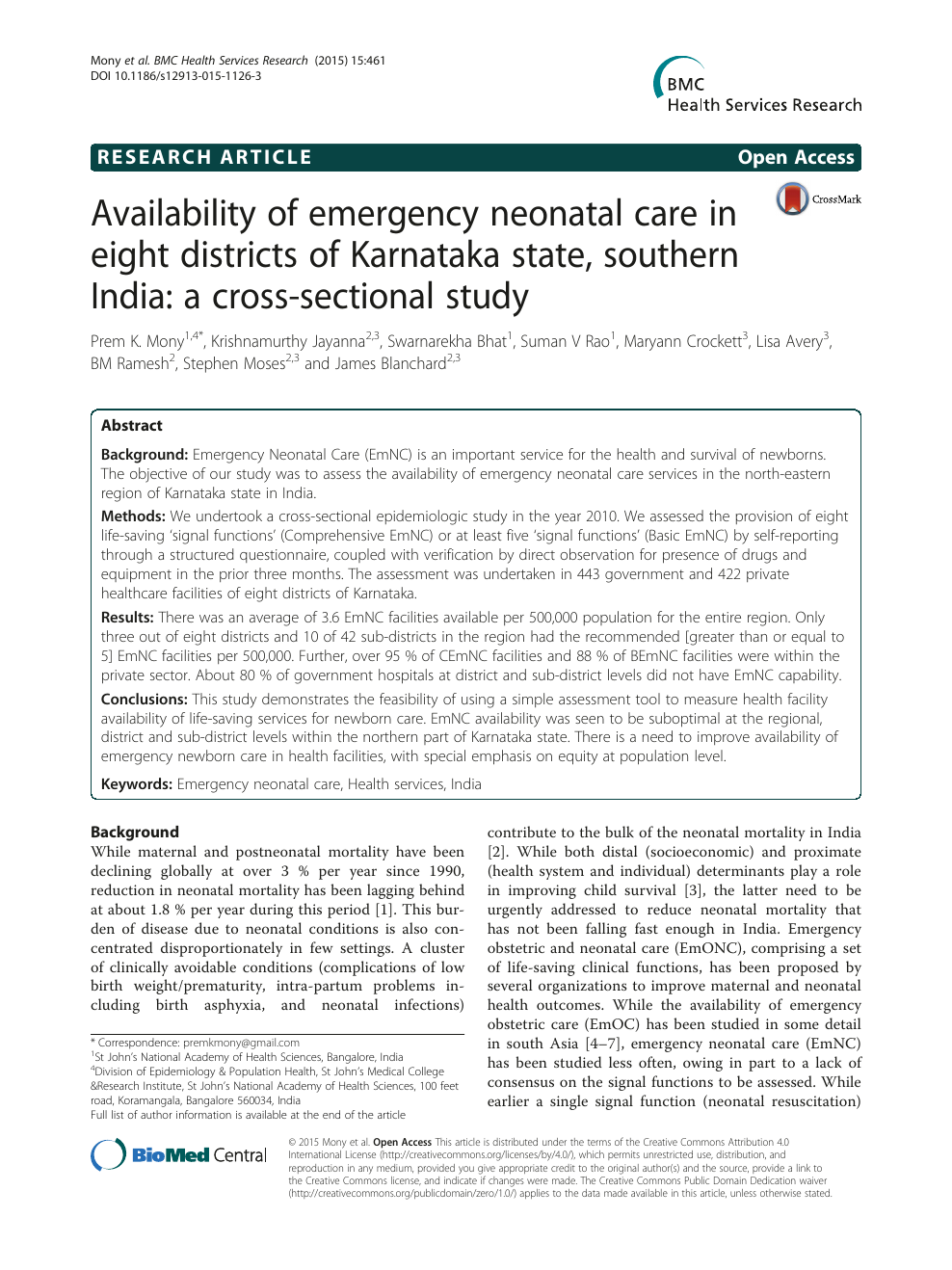 Availability Of Emergency Neonatal Care In Eight Districts Of Karnataka State Southern India A Cross Sectional Study Topic Of Research Paper In Clinical Medicine Download Scholarly Article Pdf And Read For Free
