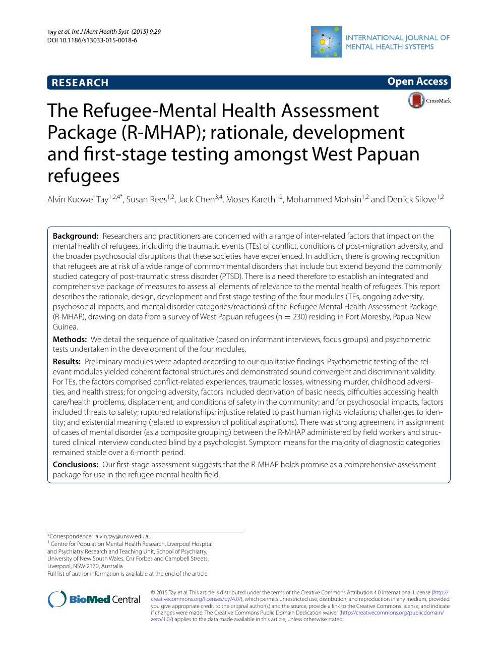 The Refugee Mental Health Assessment Package R Mhap Rationale Development And First Stage Testing Amongst West Papuan Refugees Topic Of Research Paper In Psychology Download Scholarly Article Pdf And Read For Free On Cyberleninka