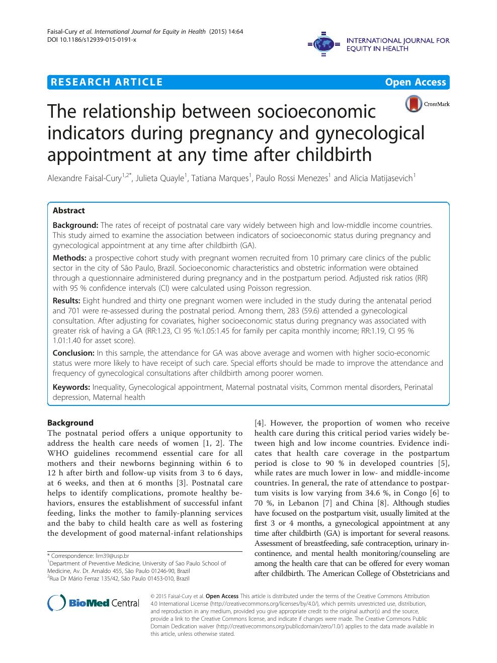 The relationship between socioeconomic indicators during pregnancy