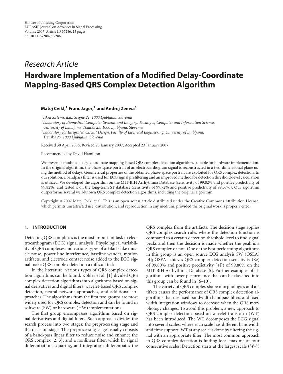 Hardware Implementation of a Modified Delay-Coordinate