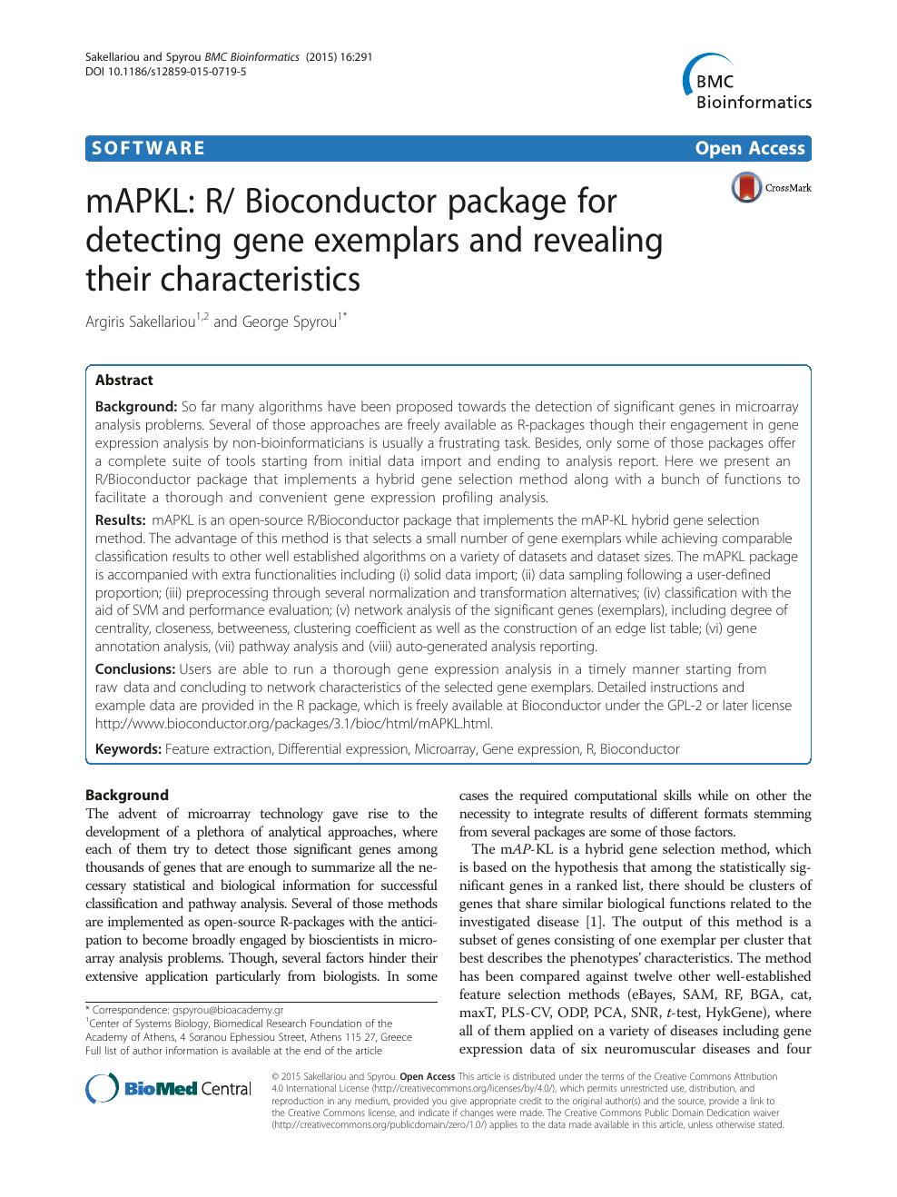 mAPKL: R/ Bioconductor package for detecting gene exemplars