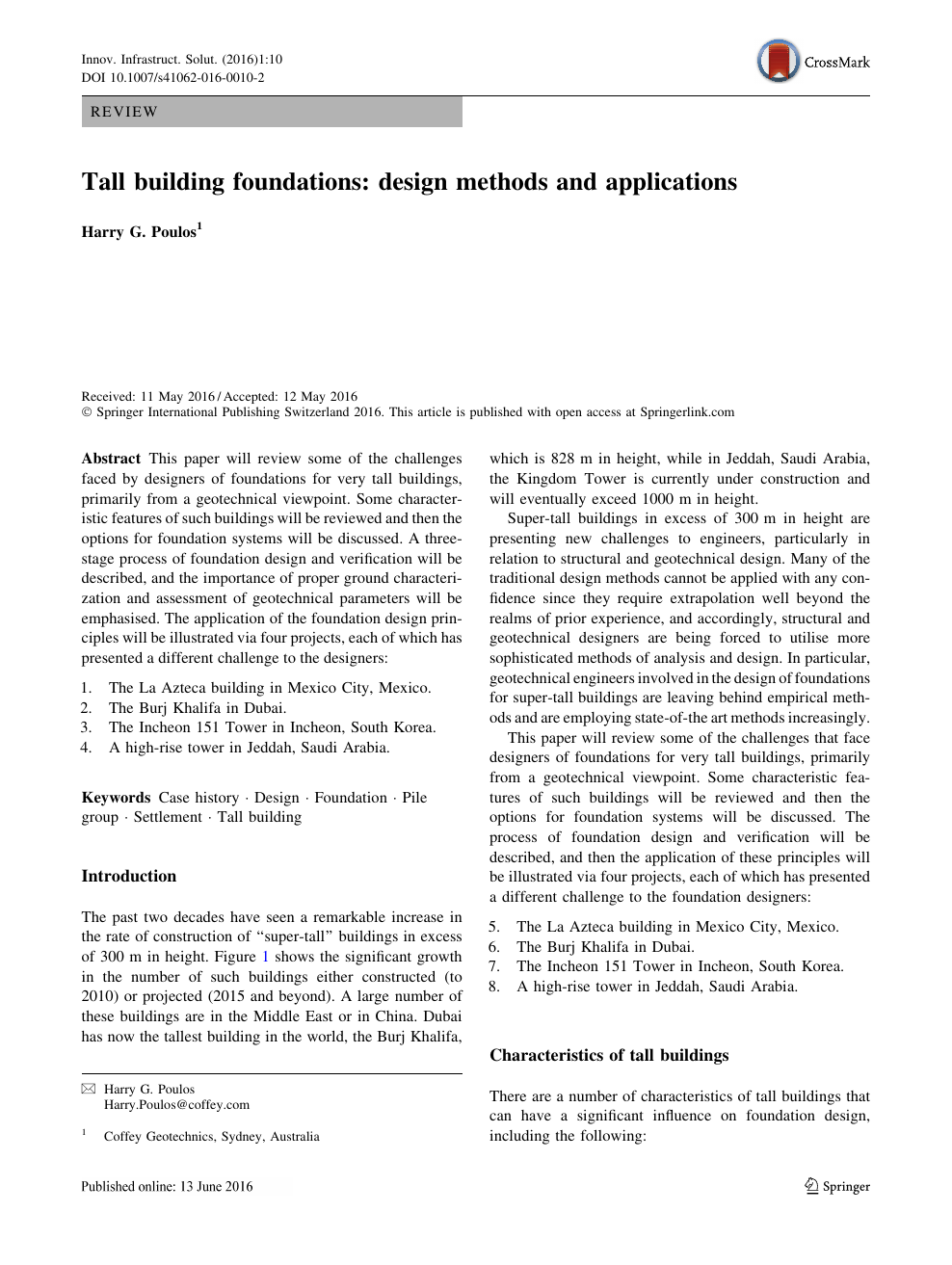 Tall building foundations: design methods and applications – topic