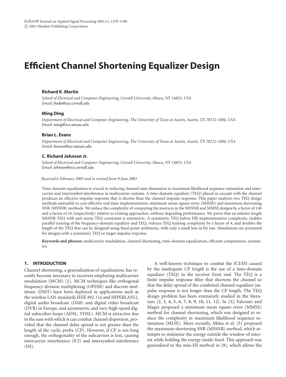 Efficient Channel Shortening Equalizer Design – topic of research