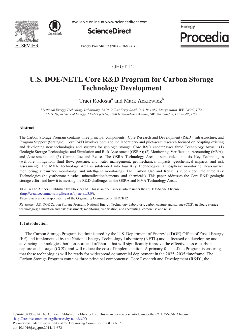 U S  DOE/NETL Core R&D Program for Carbon Storage Technology