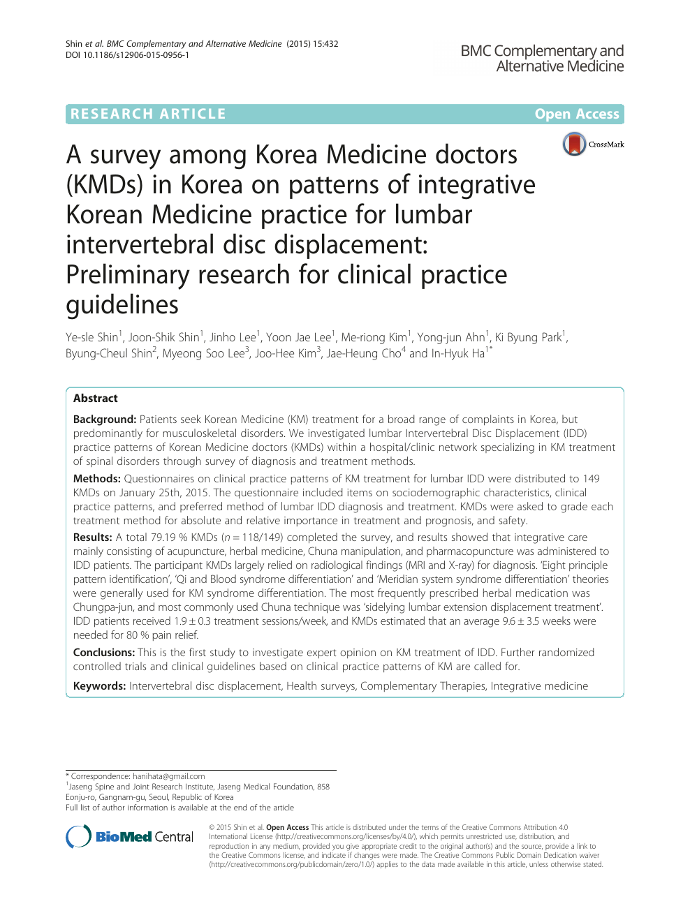 A survey among Korea Medicine doctors (KMDs) in Korea on