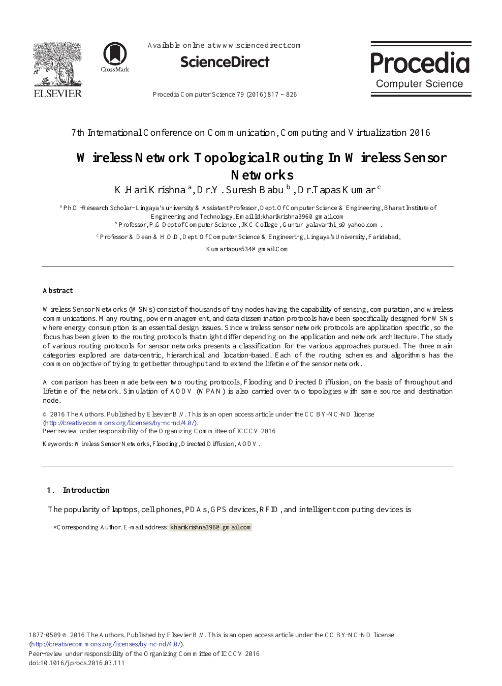 Wireless Network Topological Routing in Wireless Sensor Networks