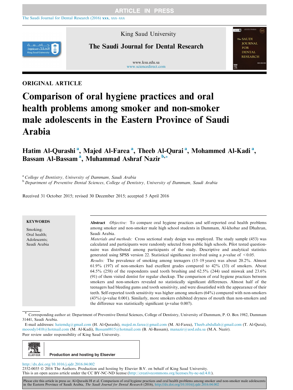 Comparison of oral hygiene practices and oral health problems among