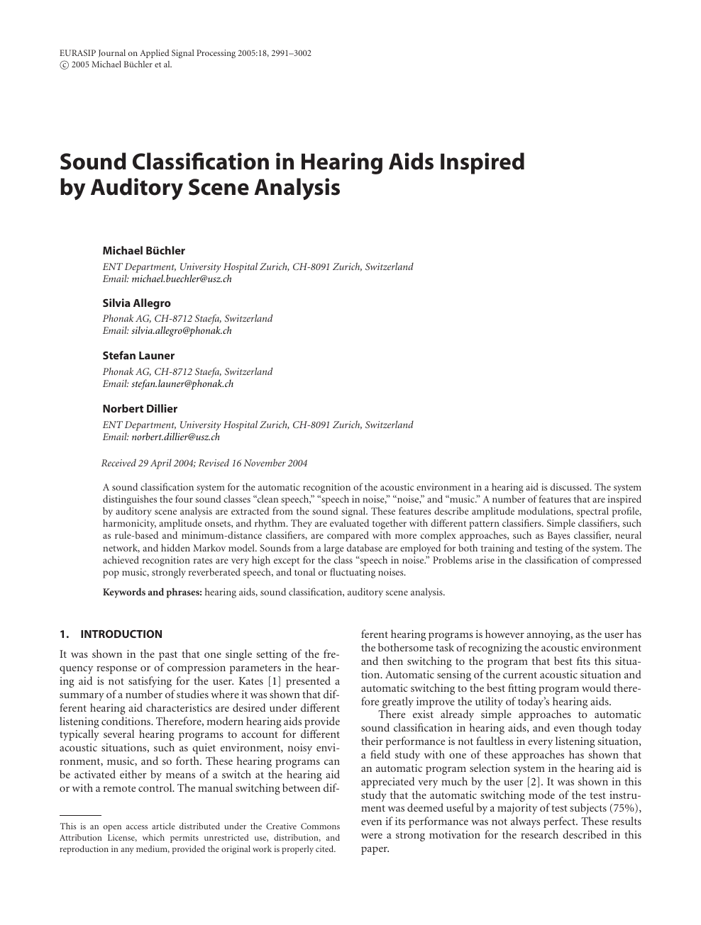 Sound Classification in Hearing Aids Inspired by Auditory