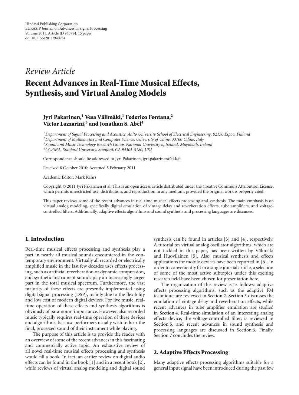 Recent Advances in Real-Time Musical Effects, Synthesis, and