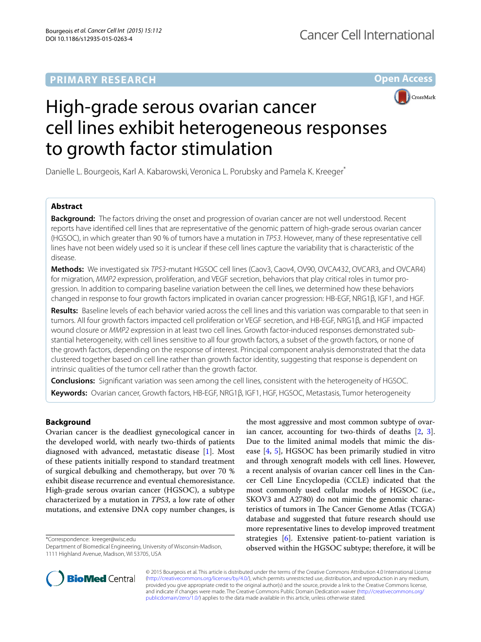 High Grade Serous Ovarian Cancer Cell Lines Exhibit Heterogeneous Responses To Growth Factor Stimulation Topic Of Research Paper In Biological Sciences Download Scholarly Article Pdf And Read For Free On Cyberleninka Open