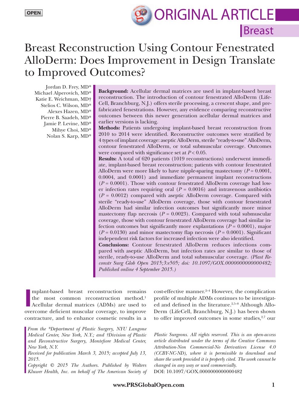 Breast Reconstruction Using Contour Fenestrated AlloDerm – topic of