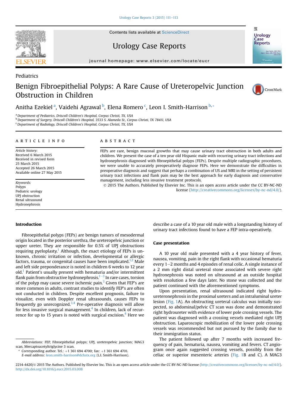 Benign Fibroepithelial Polyps: A Rare Cause of Ureteropelvic