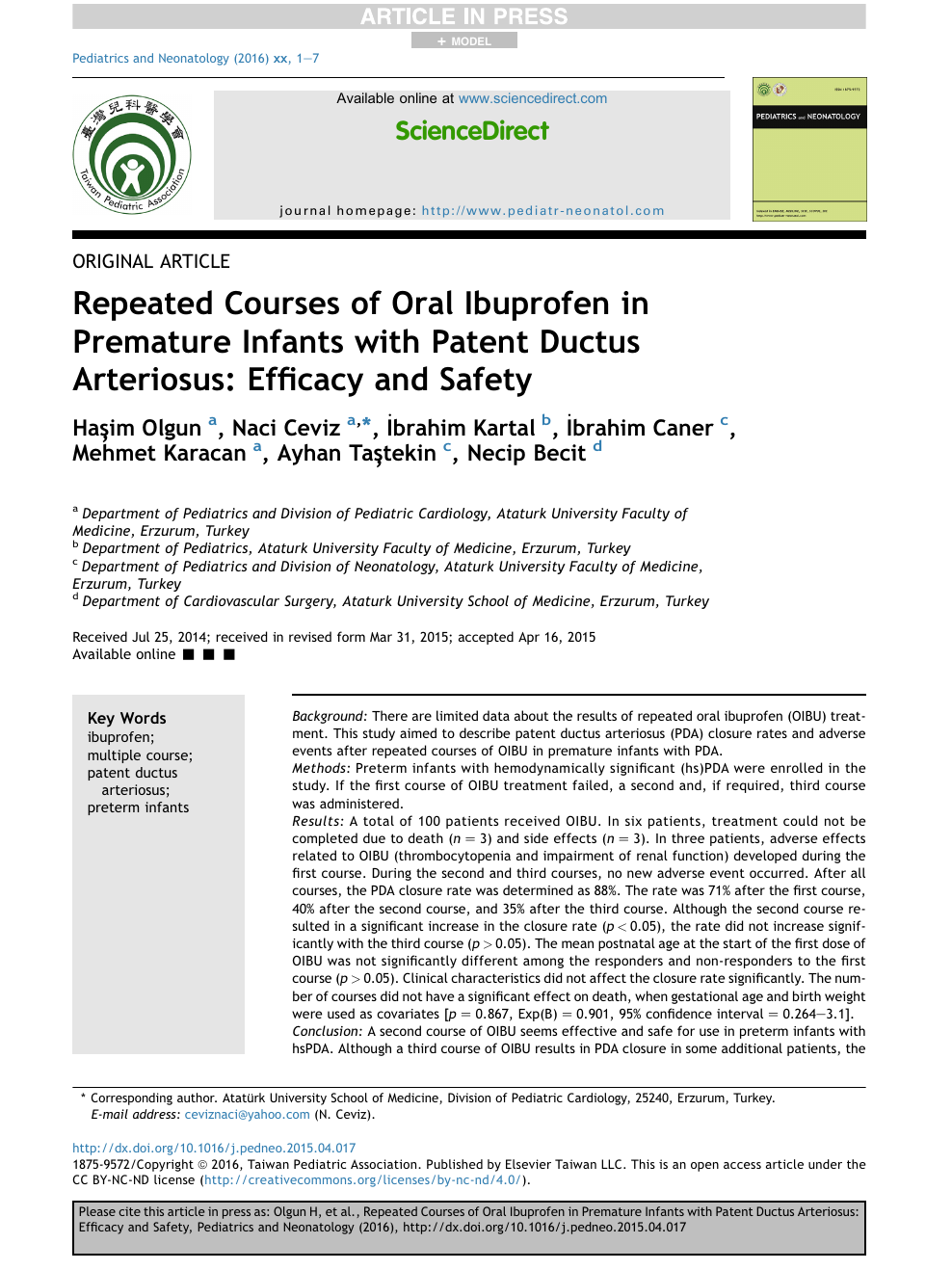 Repeated Courses of Oral Ibuprofen in Premature Infants with