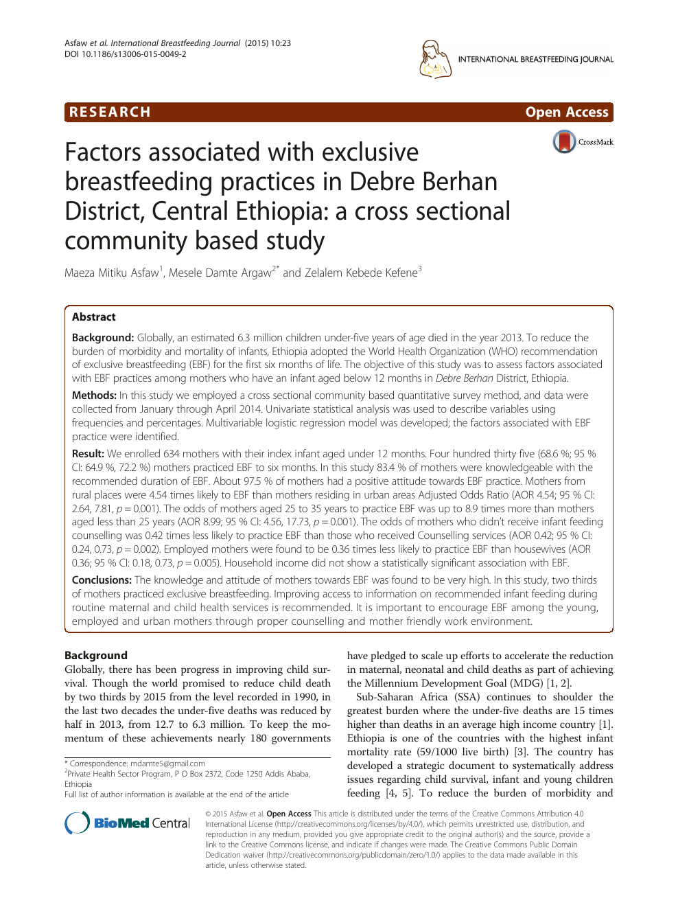 Factors associated with exclusive breastfeeding practices in Debre