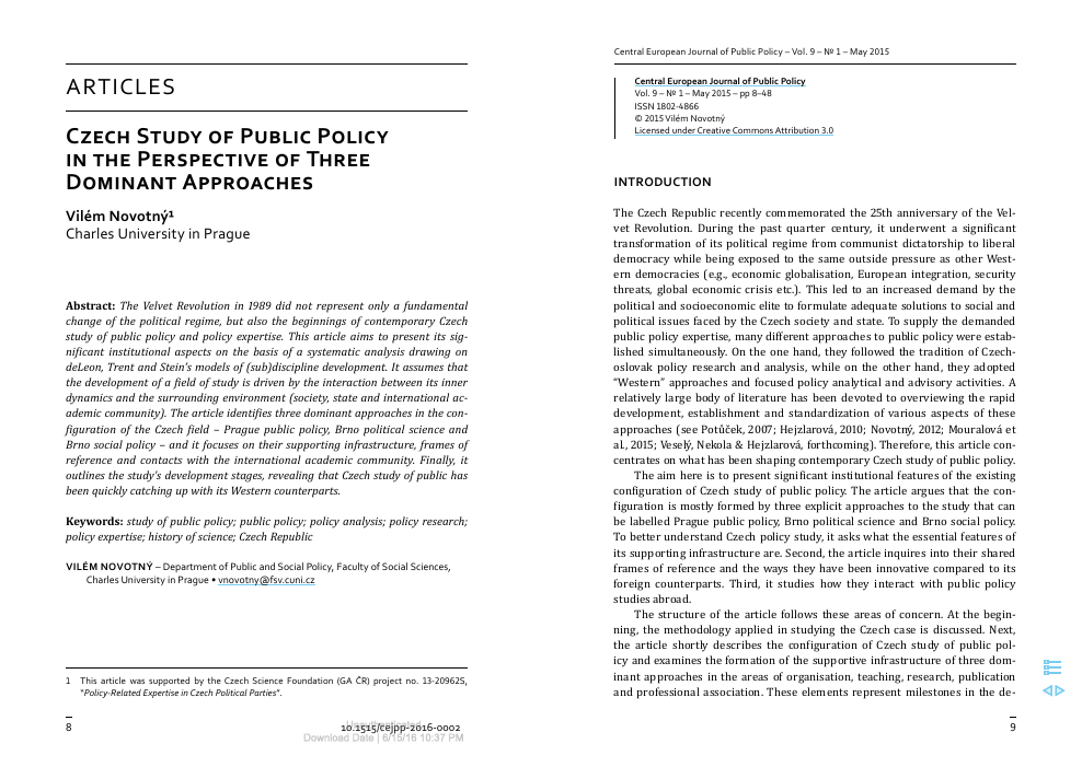 Czech Study of Public Policy in the Perspective of Three