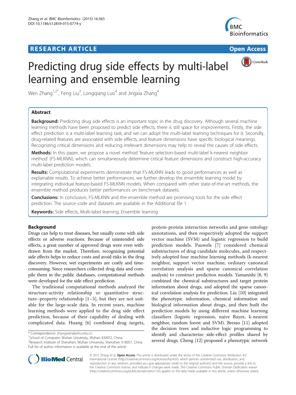 Predicting drug side effects by multi-label learning and ensemble