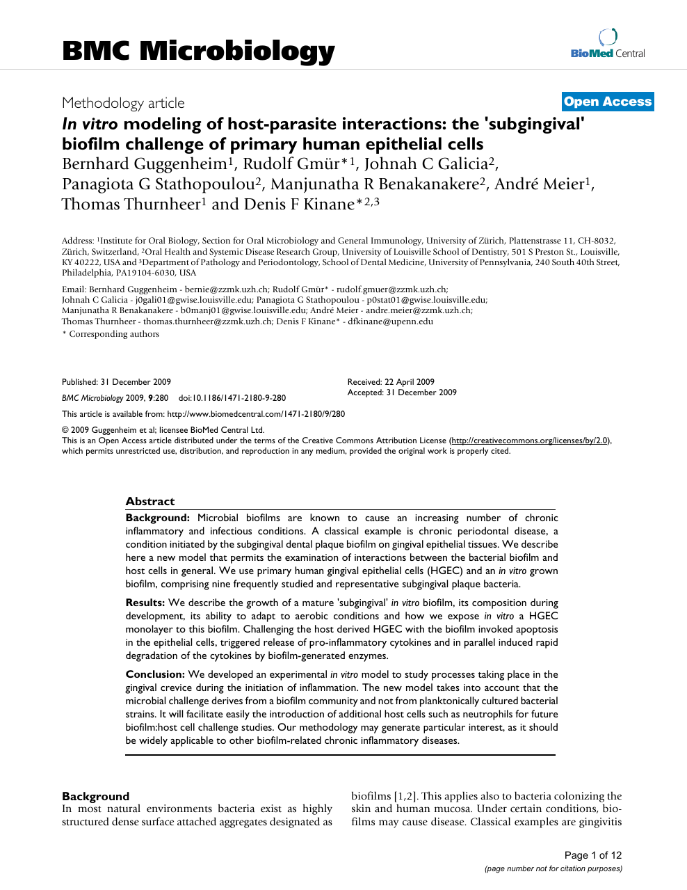 In vitro modeling of host-parasite interactions: the 'subgingival