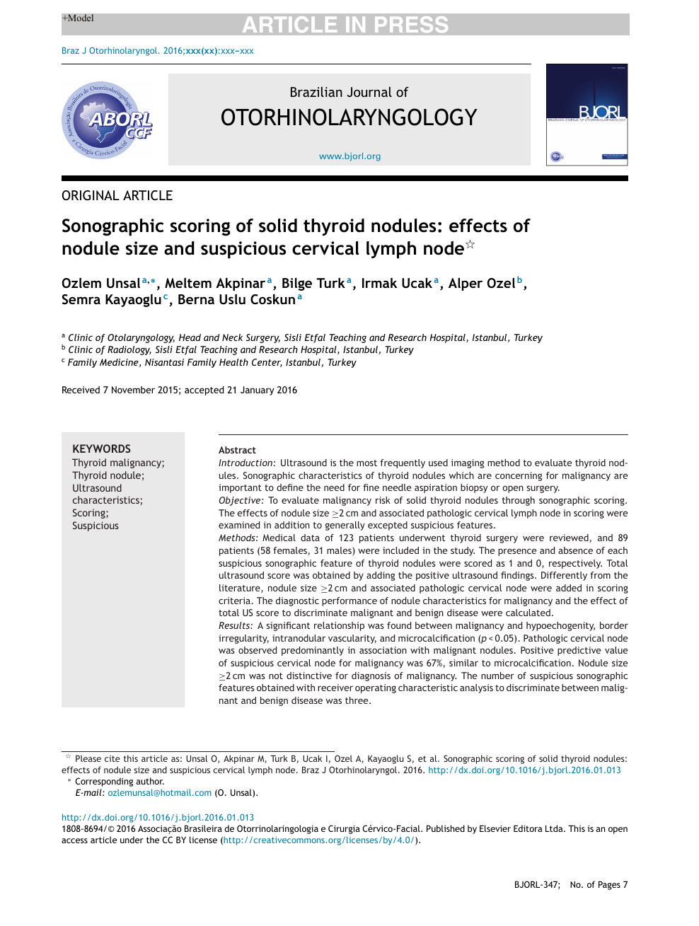 Sonographic Scoring Of Solid Thyroid Nodules Effects Of Nodule