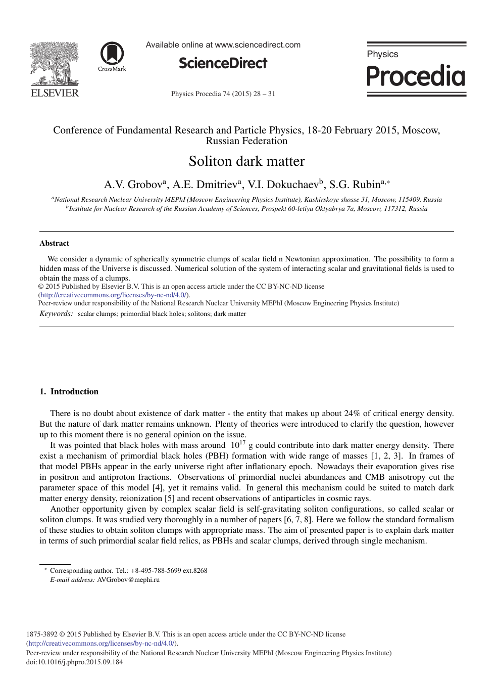 Soliton Dark Matter – topic of research paper in Physical sciences