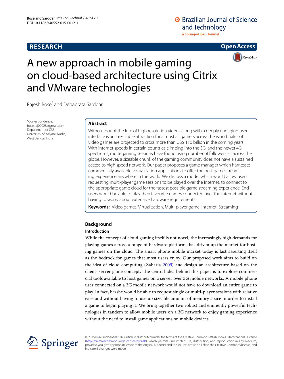 A new approach in mobile gaming on cloud-based architecture