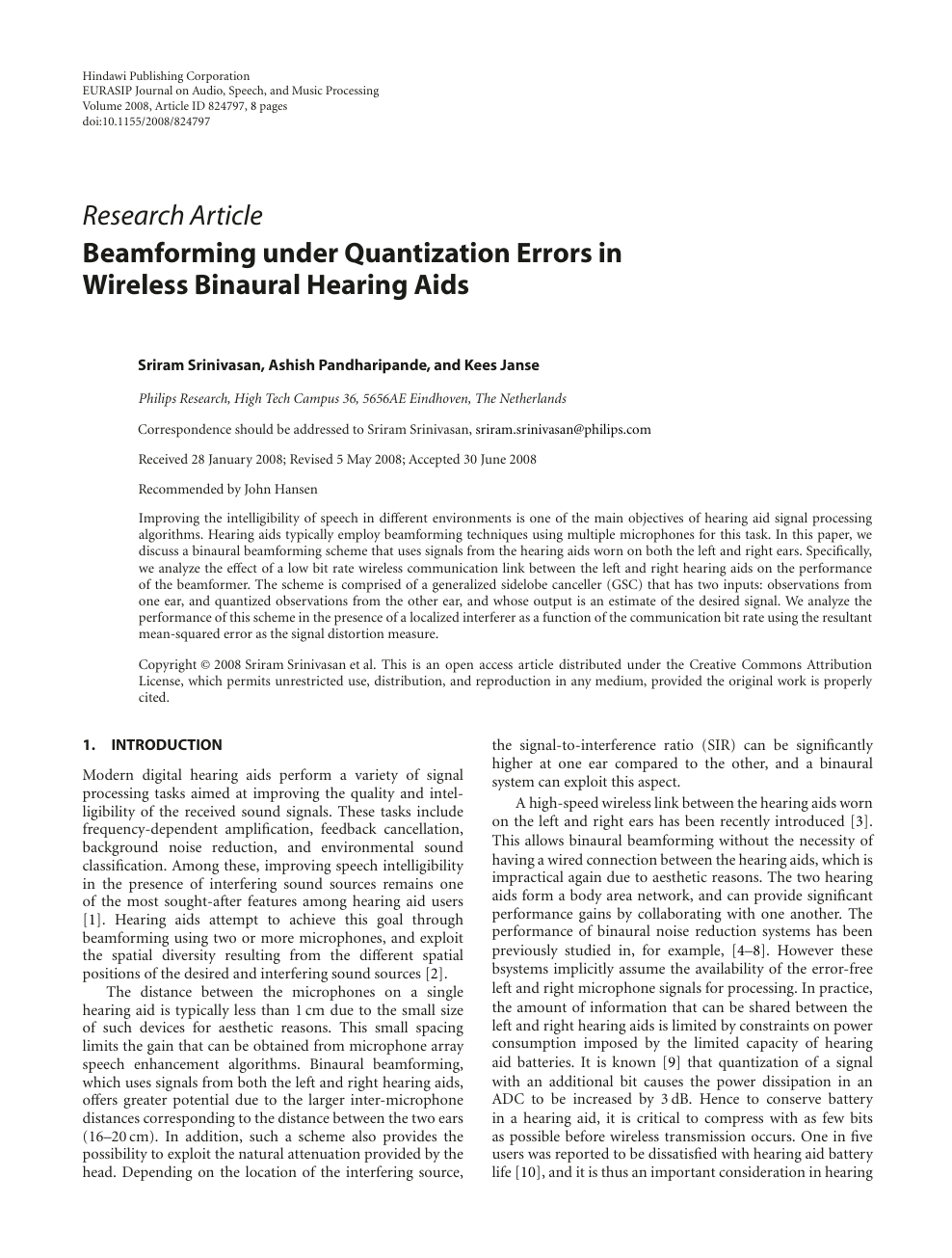 Beamforming under Quantization Errors in Wireless Binaural