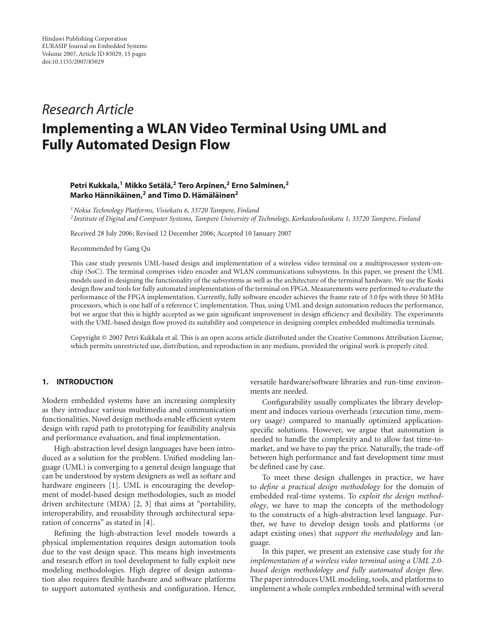 Implementing A Wlan Video Terminal Using Uml And Fully Automated Design Flow Topic Of Research Paper In Electrical Engineering Electronic Engineering Information Engineering Download Scholarly Article Pdf And Read For Free