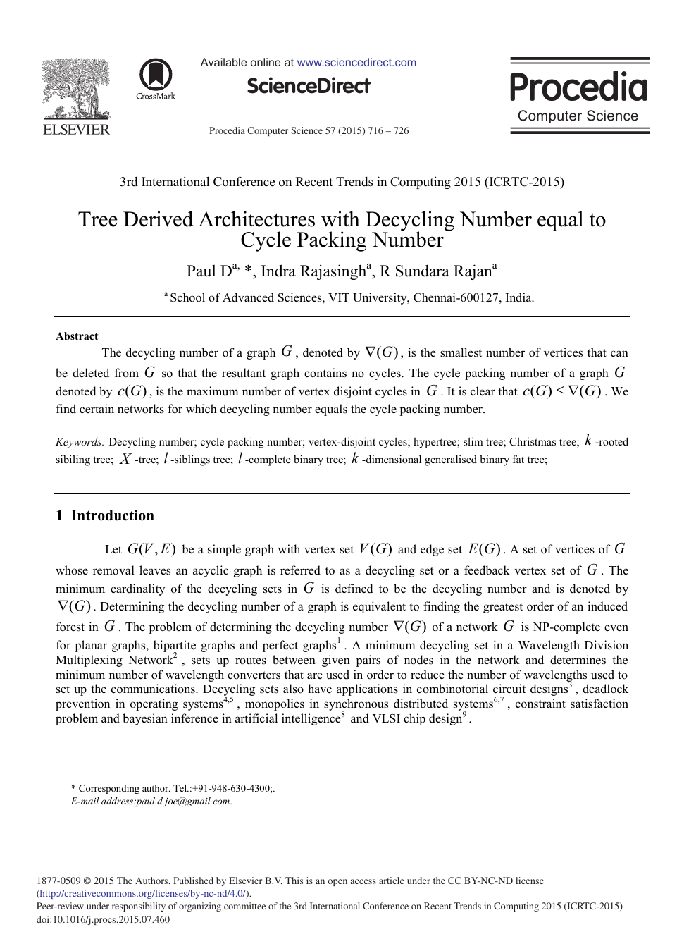 Tree Derived Architectures With Decycling Number Equal To Cycle Packing Number Topic Of Research Paper In Computer And Information Sciences Download Scholarly Article Pdf And Read For Free On Cyberleninka Open