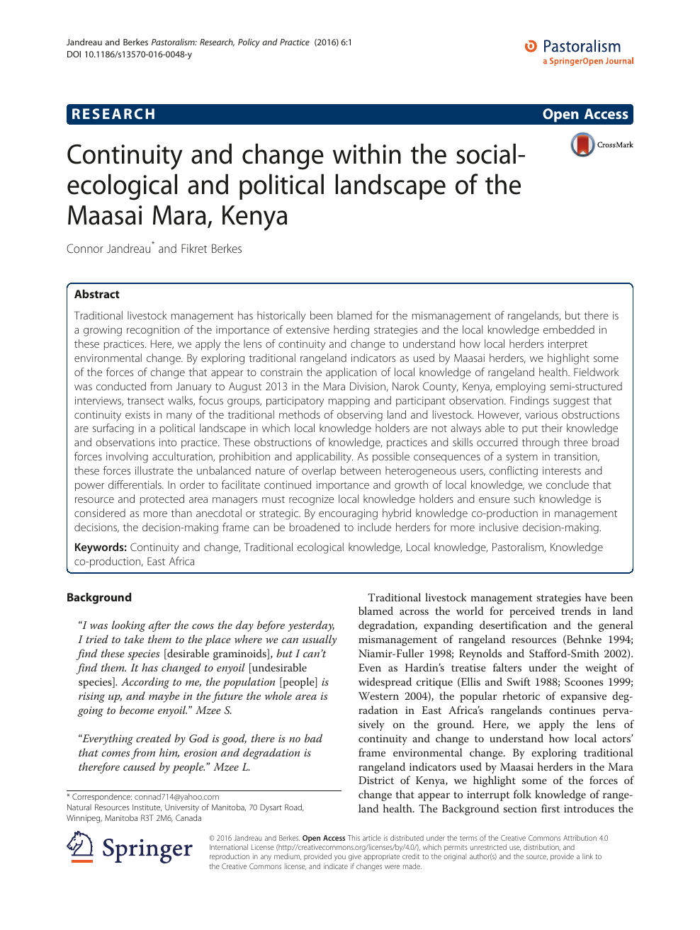 Continuity And Change Within The Social Ecological And Political Landscape Of The Maasai Mara Kenya Topic Of Research Paper In History And Archaeology Download Scholarly Article Pdf And Read For Free On