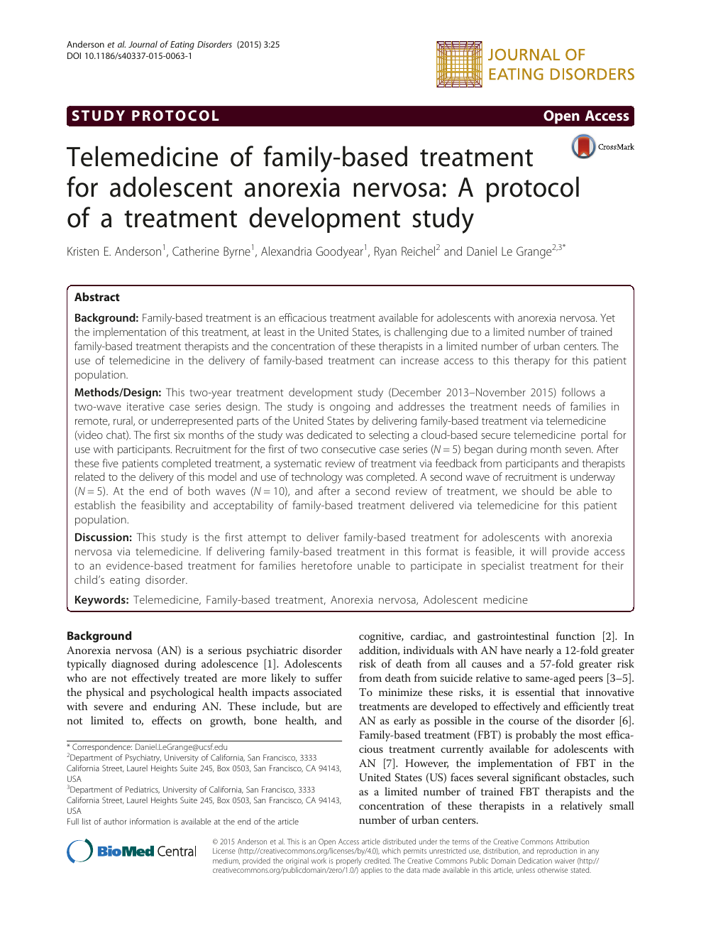 Telemedicine of family-based treatment for adolescent