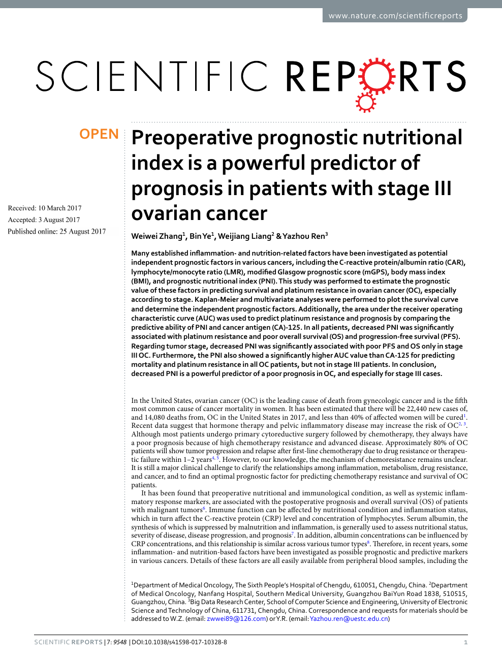 Preoperative Prognostic Nutritional Index Is A Powerful Predictor Of Prognosis In Patients With Stage Iii Ovarian Cancer Topic Of Research Paper In Clinical Medicine Download Scholarly Article Pdf And Read For
