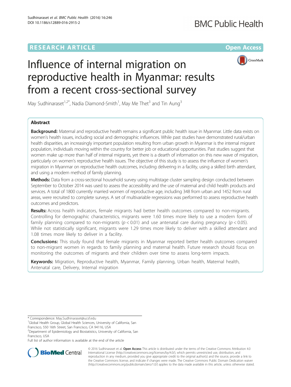 Influence of internal migration on reproductive health in