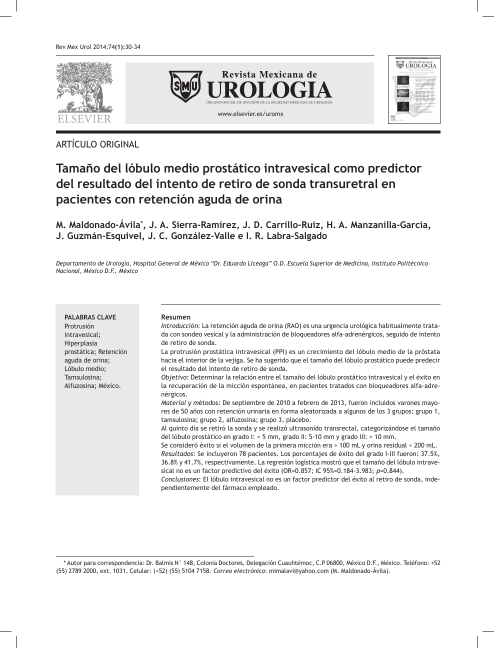 fórmula de volumen de hiperplasia del tamaño de la próstata