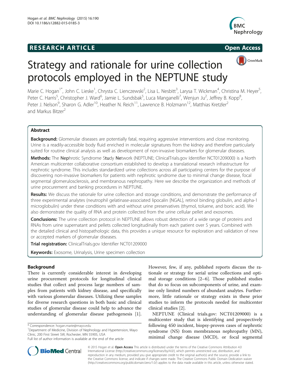 Strategy and rationale for urine collection protocols