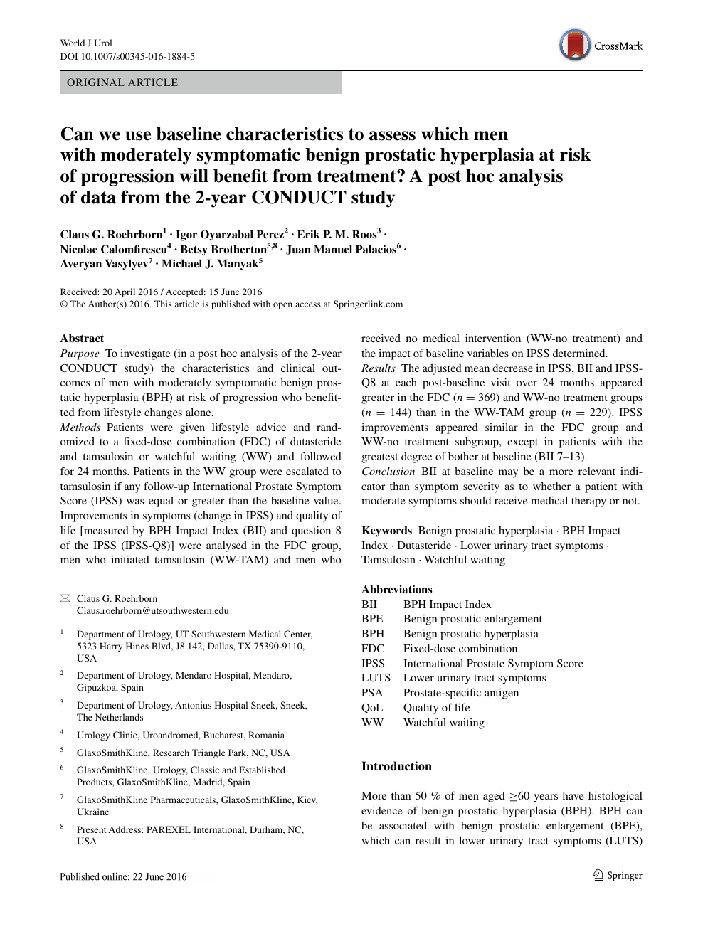 Can We Use Baseline Characteristics To Assess Which Men With Moderately Symptomatic Benign Prostatic Hyperplasia At Risk Of Progression Will Benefit From Treatment A Post Hoc Analysis Of Data From The 2 Year