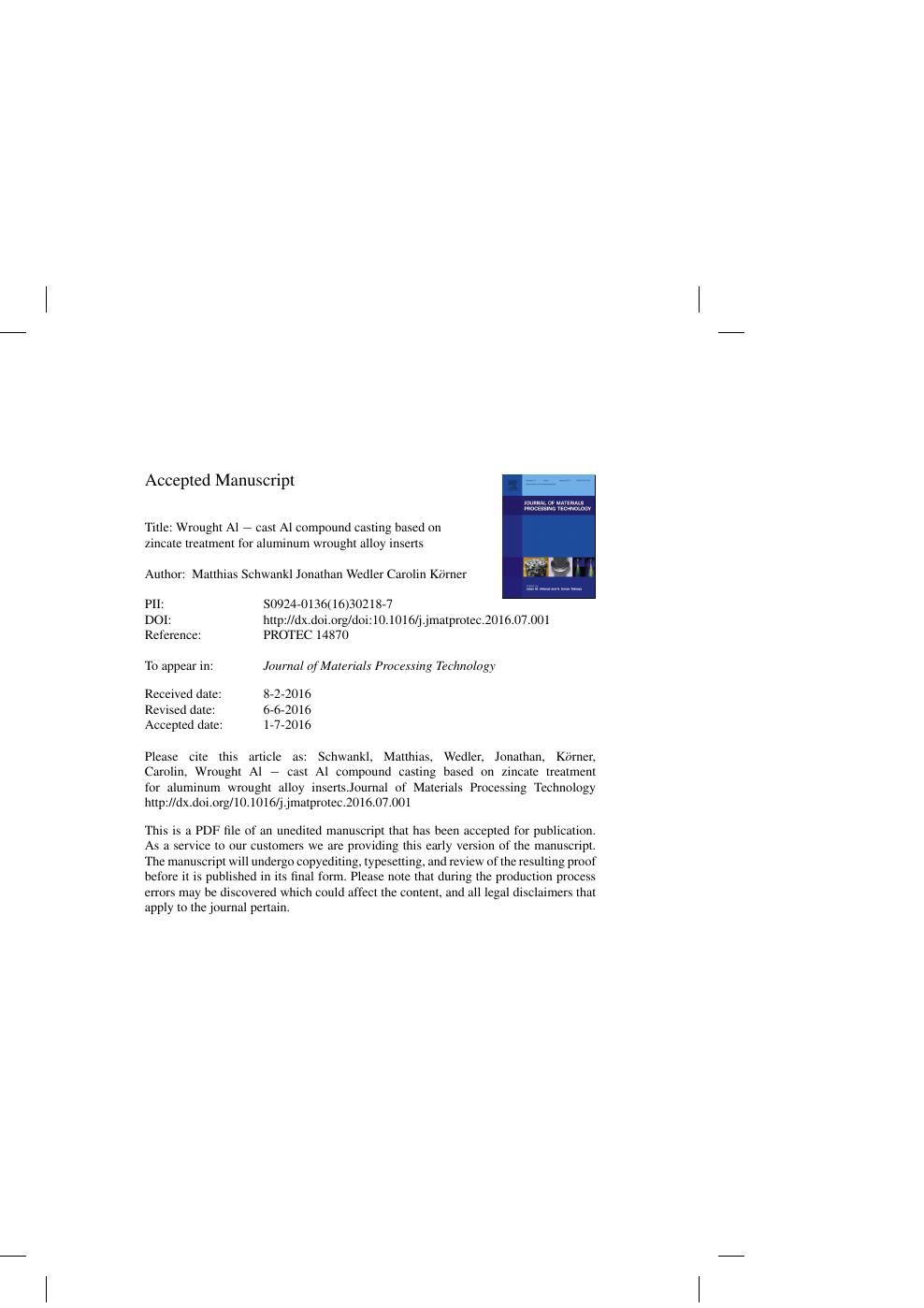 Wrought Al − cast Al compound casting based on zincate