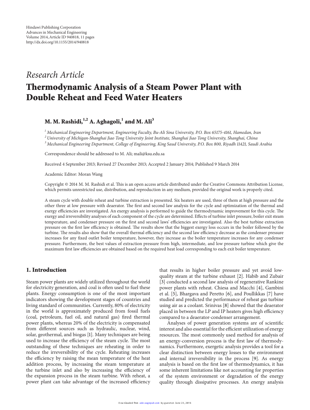 Thermodynamic Analysis of a Steam Power Plant with Double Reheat and