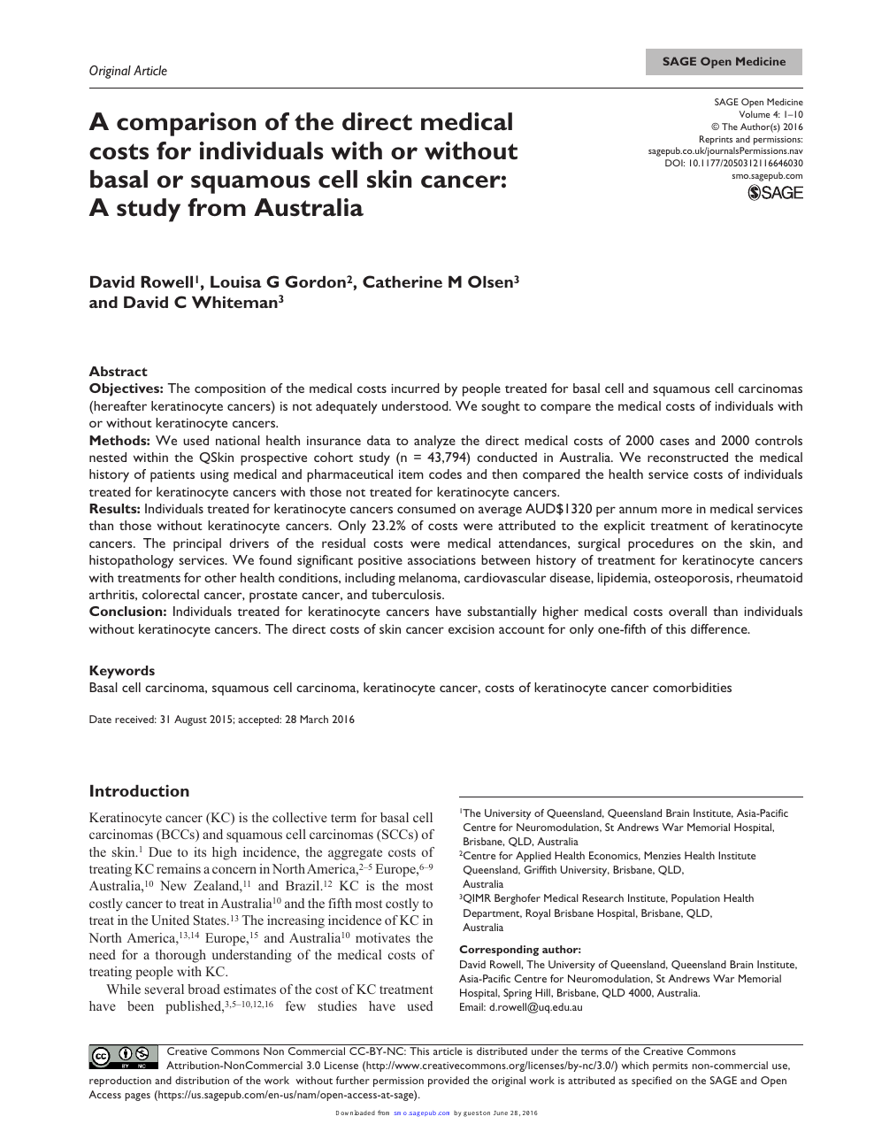 A Comparison Of The Direct Medical Costs For Individuals With Or Without Basal Or Squamous Cell Skin Cancer A Study From Australia Topic Of Research Paper In Clinical Medicine Download Scholarly
