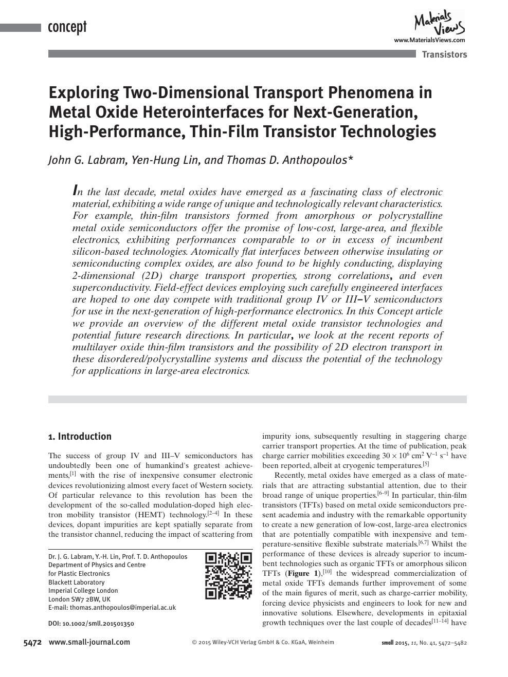 Exploring Two Dimensional Transport Phenomena in Metal Oxide ...