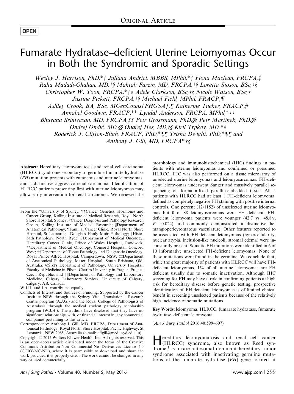 Fumarate Hydratase–deficient Uterine Leiomyomas Occur in