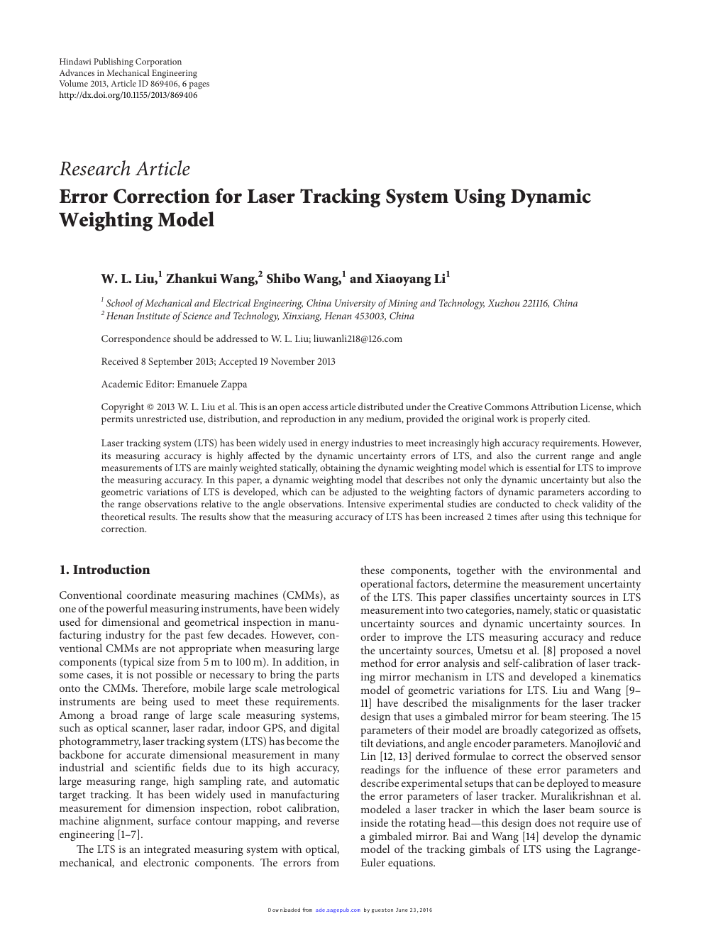 Error Correction for Laser Tracking System Using Dynamic