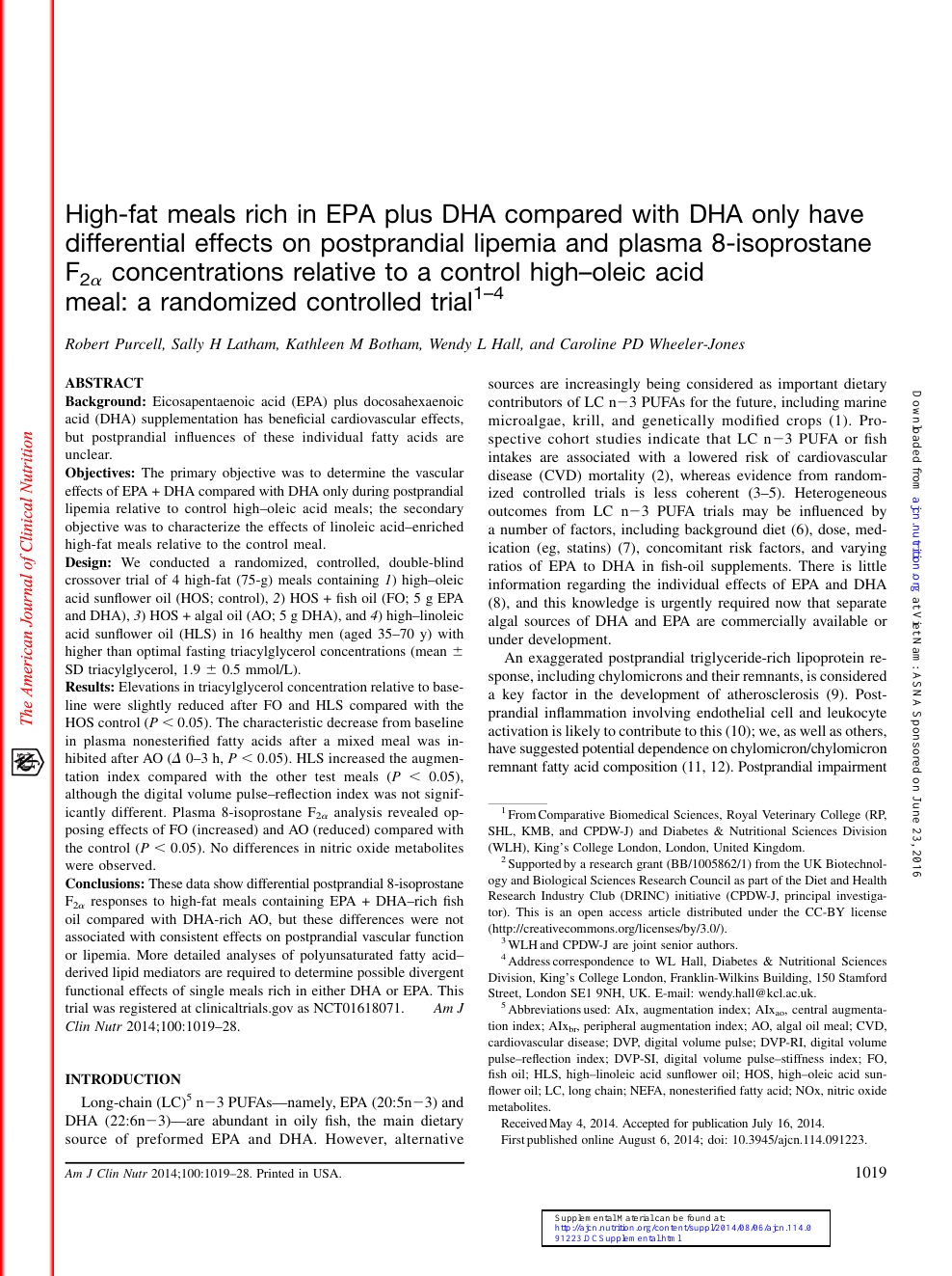 High Fat Meals Rich In Epa Plus Dha Compared With Dha Only Have Differential Effects On Postprandial Lipemia And Plasma 8 Isoprostane F2 Concentrations Relative To A Control High Oleic Acid Meal A Randomized Controlled