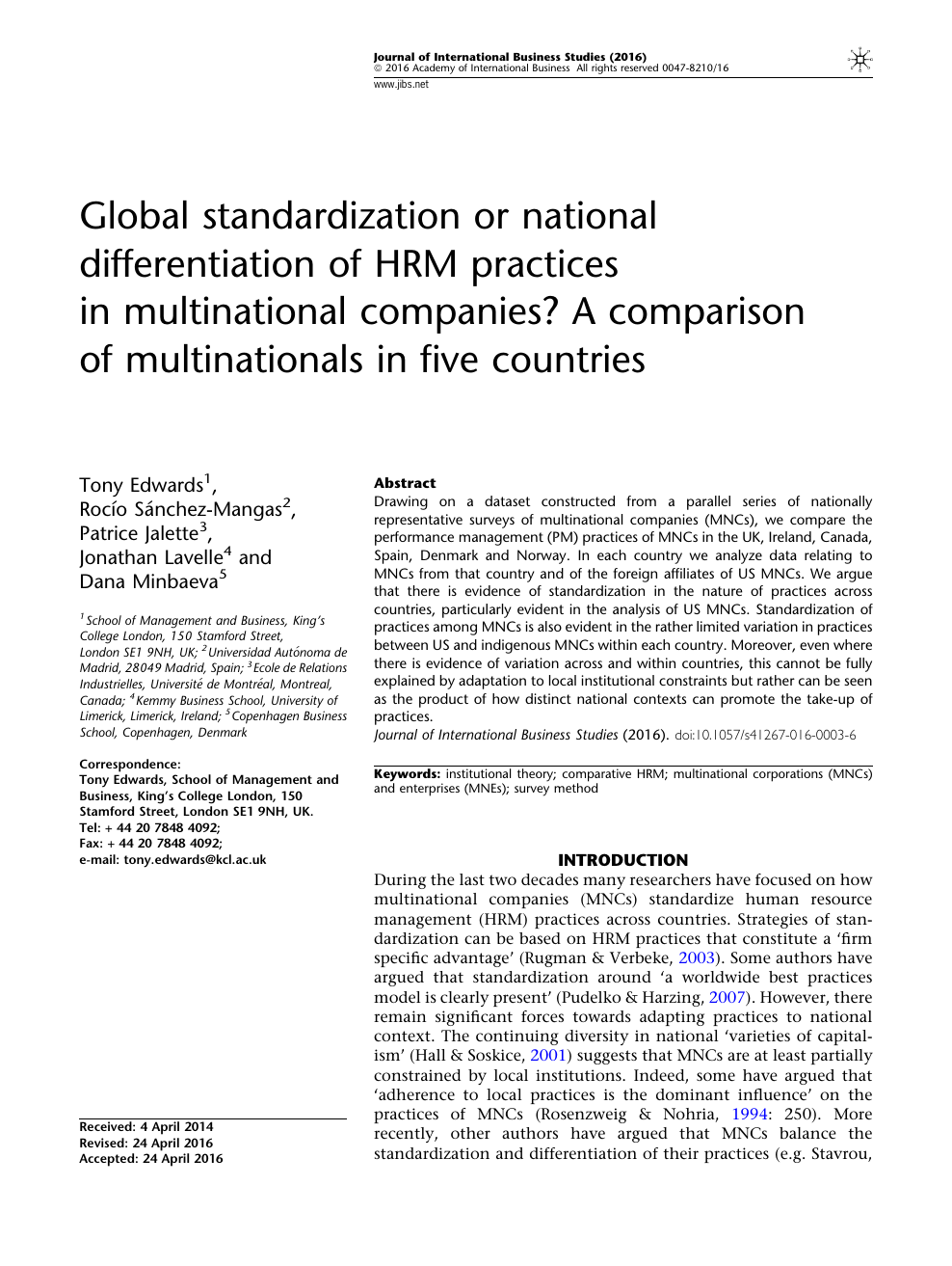 Global standardization or national differentiation of HRM