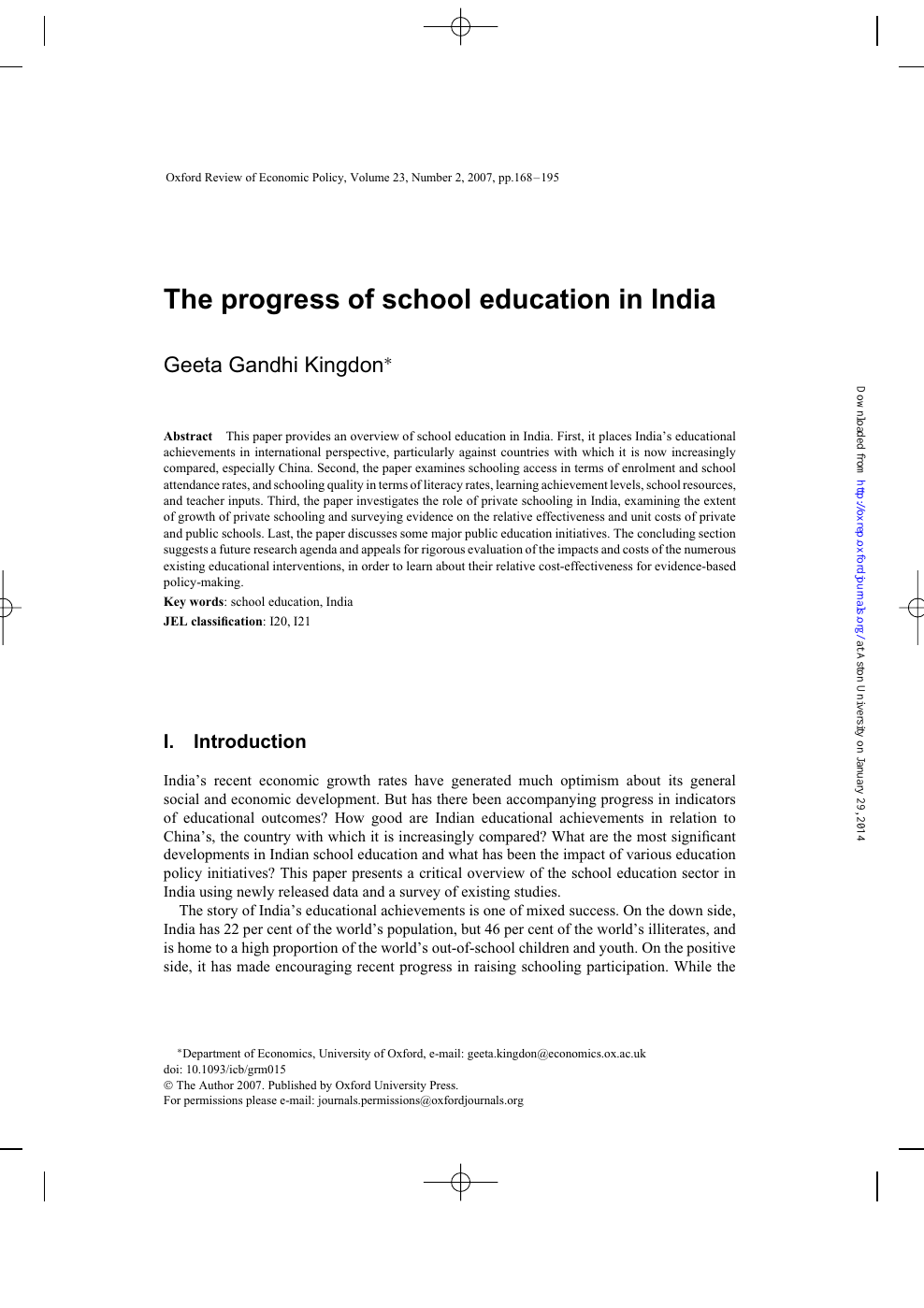 The progress of school education in India – topic of